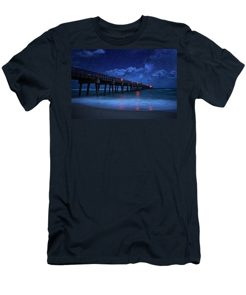 Milky Way Over Juno Beach Pier Under Moonlight Men's T-Shirt (Athletic Fit)