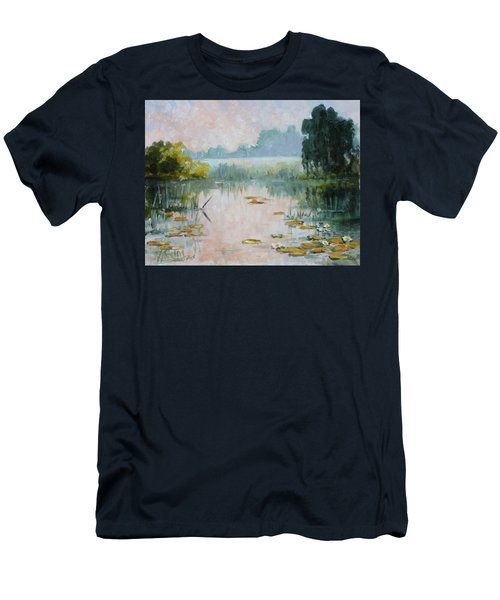 Mist Over Water Lilies Pond Men's T-Shirt (Slim Fit)