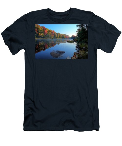 Men's T-Shirt (Athletic Fit) featuring the photograph Misty Morning On The Pond by David Patterson