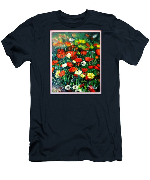 Men's T-Shirt (Slim Fit) featuring the painting Mixed Puppies  by Laila Awad Jamaleldin