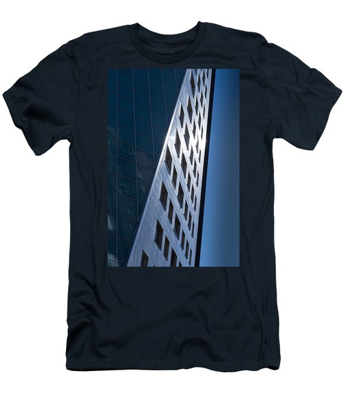 Men's T-Shirt (Slim Fit) featuring the photograph Blue Modern Apartment Building by John Williams