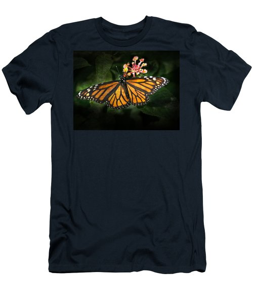 Monarch Butterfly On Lantana Men's T-Shirt (Athletic Fit)