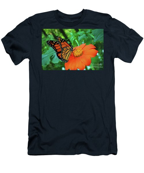 Monarch On Mexican Sunflower Men's T-Shirt (Athletic Fit)
