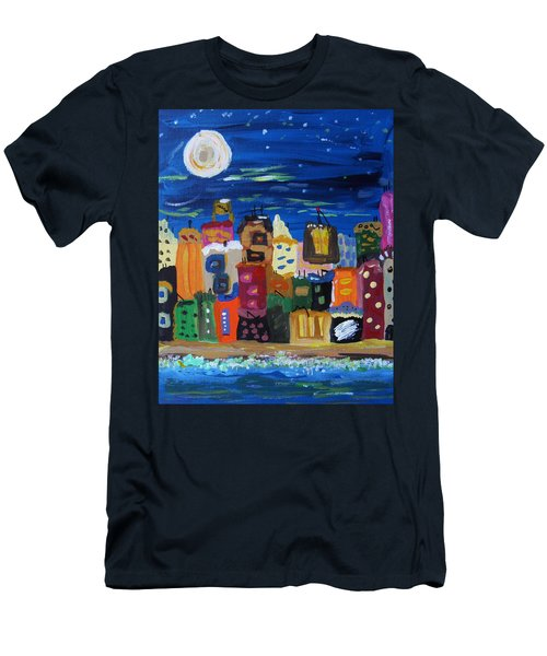 Moon And Sea Waves Men's T-Shirt (Slim Fit) by Mary Carol Williams