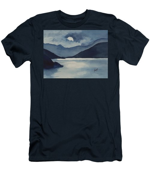 Men's T-Shirt (Athletic Fit) featuring the painting Moon Over The Water by Sam Sidders