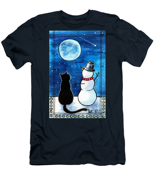 Moon Watching With Snowman - Christmas Cat Men's T-Shirt (Athletic Fit)