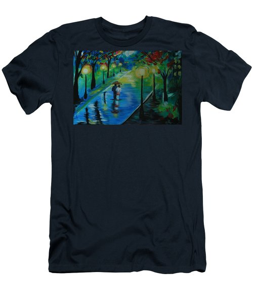 Men's T-Shirt (Slim Fit) featuring the painting Moonlight Stroll by Leslie Allen