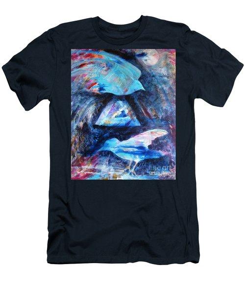 Moonlit Birds Men's T-Shirt (Slim Fit) by Denise Hoag