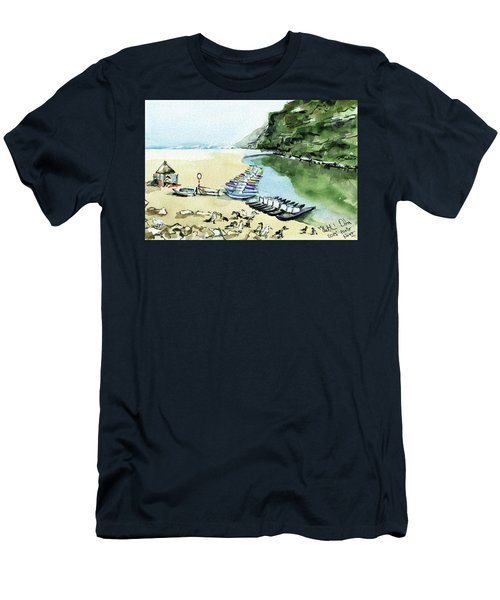 Men's T-Shirt (Athletic Fit) featuring the painting Morning At Porto Novo Beach by Dora Hathazi Mendes