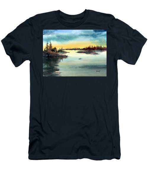 Men's T-Shirt (Athletic Fit) featuring the painting Morning On The Lake by Sam Sidders