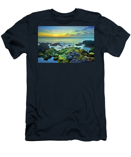 Men's T-Shirt (Slim Fit) featuring the photograph Moss Covered Rocks At Sunset In Molokai by Tara Turner