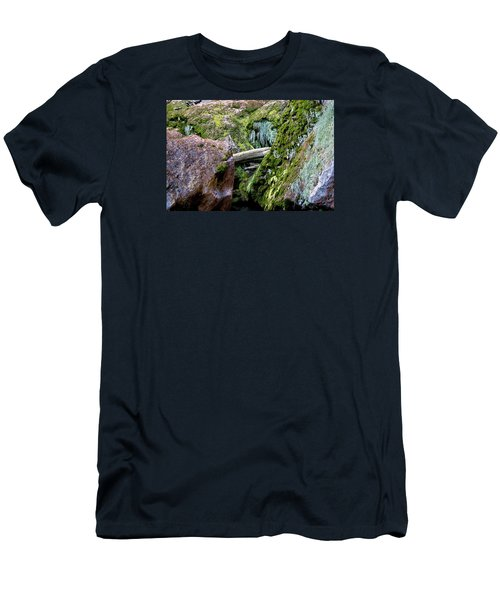 Men's T-Shirt (Slim Fit) featuring the photograph Mossy Rocks by Phyllis Denton
