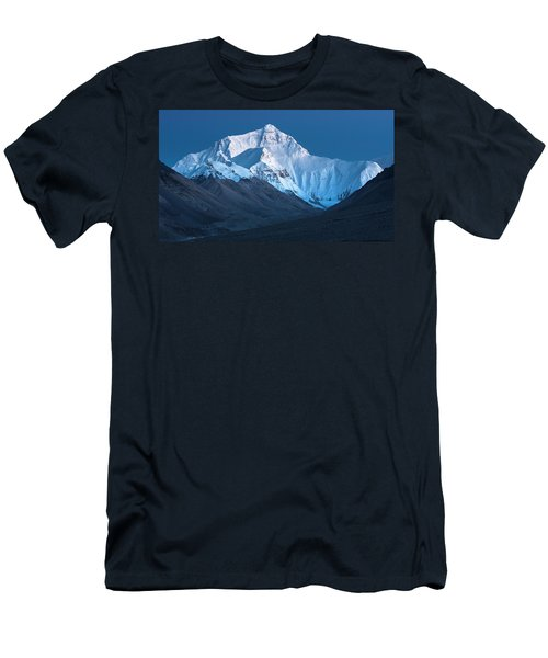 Men's T-Shirt (Athletic Fit) featuring the photograph Mount Everest At Blue Hour, Rongbuk, 2007 by Hitendra SINKAR