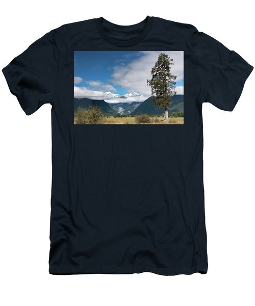 Men's T-Shirt (Athletic Fit) featuring the photograph Mountains And Tree, Lake Matheson by Gary Eason