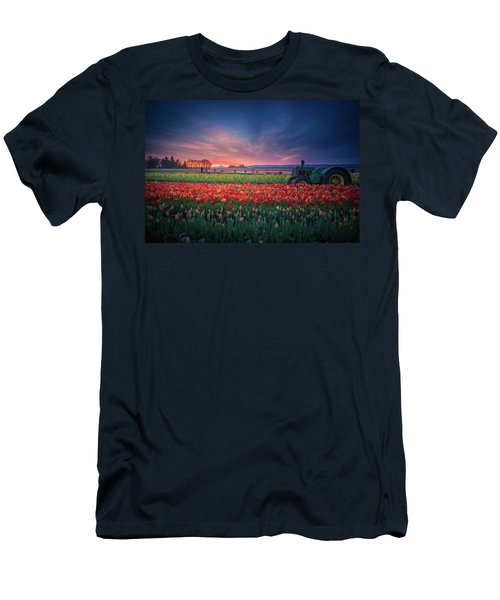 Men's T-Shirt (Athletic Fit) featuring the photograph Mt. Hood And Tulip Field At Dawn by William Lee