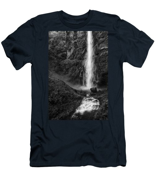 Multnomah Falls In Black And White Men's T-Shirt (Athletic Fit)