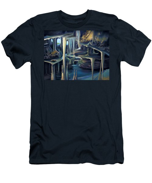 Men's T-Shirt (Slim Fit) featuring the painting Mural Ice Monks In November by Nancy Griswold