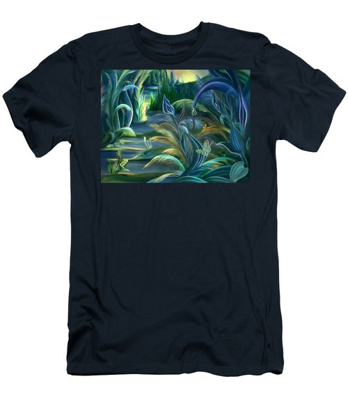 Men's T-Shirt (Slim Fit) featuring the painting Mural  Insects Of Enchanted Stream by Nancy Griswold