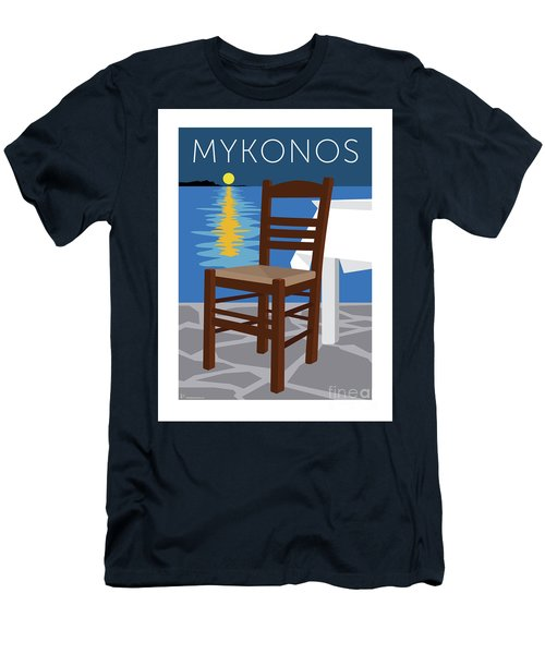 Men's T-Shirt (Athletic Fit) featuring the digital art Mykonos Empty Chair - Blue by Sam Brennan