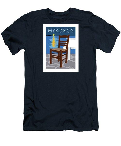 Mykonos Empty Chair - Blue Men's T-Shirt (Athletic Fit)