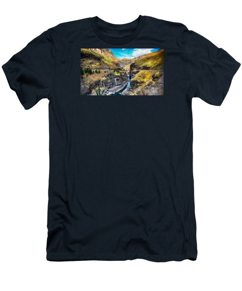 Narrow River In Mountains Men's T-Shirt (Athletic Fit)