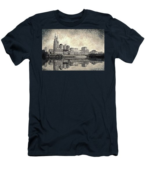 Men's T-Shirt (Slim Fit) featuring the mixed media Nashville Skyline II by Janet King