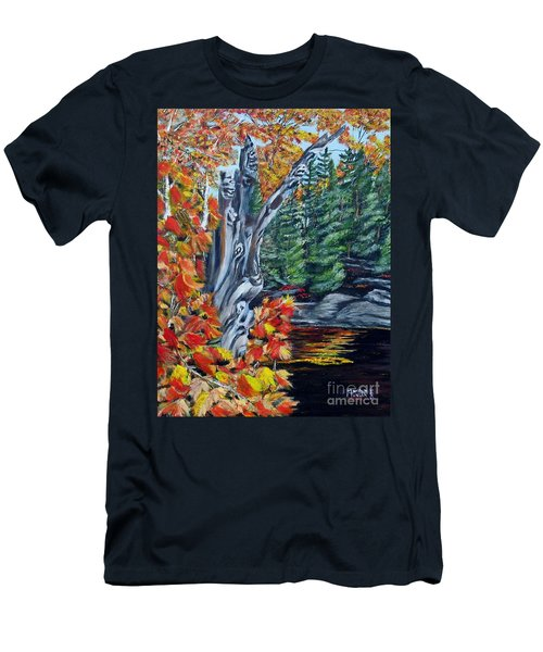 Men's T-Shirt (Slim Fit) featuring the painting Natures Faces by Marilyn  McNish