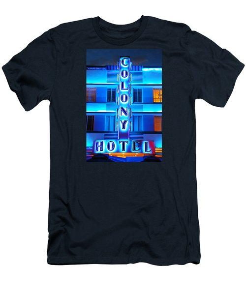 Neon Lights Of The Colony Hotel, Miami Beach Men's T-Shirt (Slim Fit) by James Kirkikis