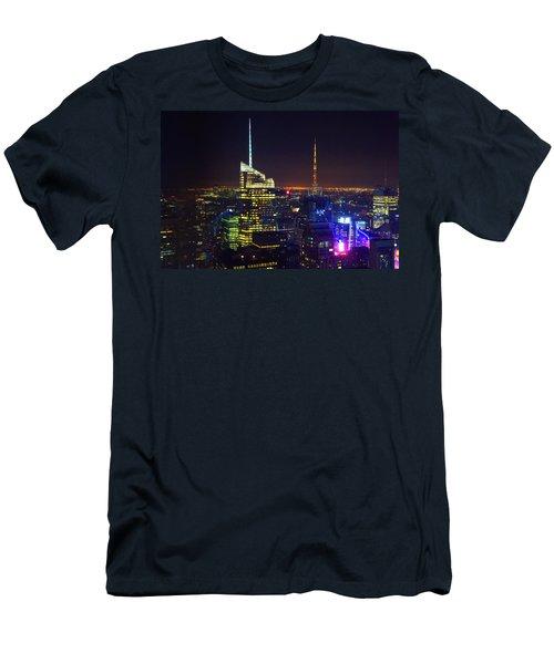 New York City Skyline At Night Men's T-Shirt (Athletic Fit)