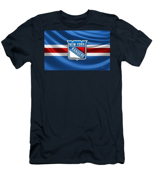 New York Rangers - 3d Badge Over Flag Men's T-Shirt (Athletic Fit)