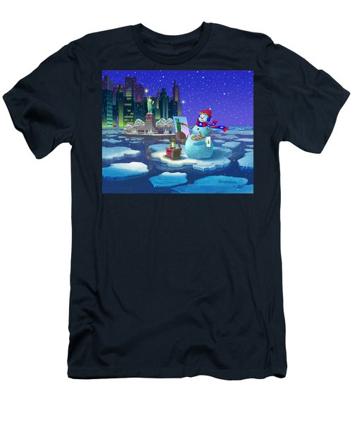 New York Snowman Men's T-Shirt (Slim Fit) by Michael Humphries