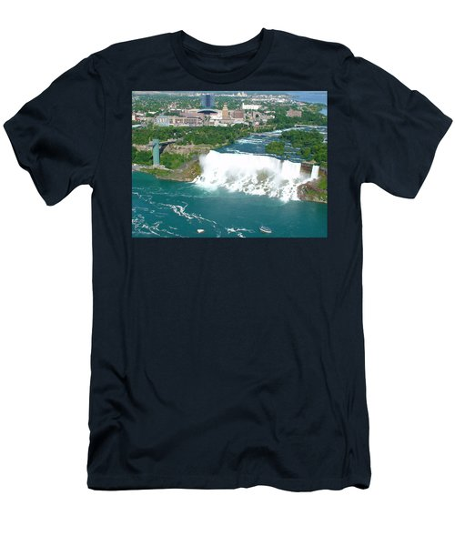 Men's T-Shirt (Slim Fit) featuring the photograph Niagara American And Bridal Veil Falls  by Charles Kraus