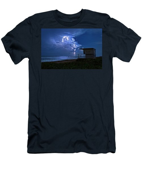 Night Lightning Under Full Moon Over Hobe Sound Beach, Florida Men's T-Shirt (Athletic Fit)