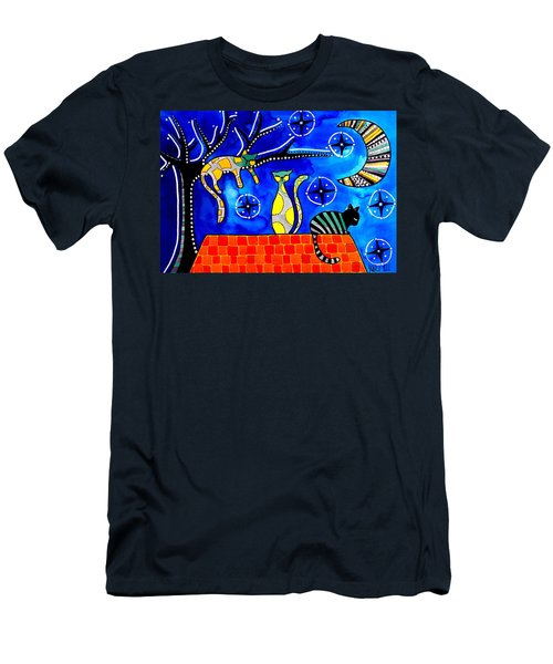 Men's T-Shirt (Slim Fit) featuring the painting Night Shift - Cat Art By Dora Hathazi Mendes by Dora Hathazi Mendes