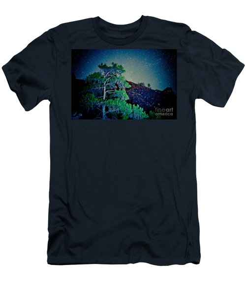 Night Sky Scene With Pine And Stars Artmif.lv Men's T-Shirt (Athletic Fit)