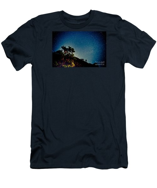 Night Sky Scene With Pine And Stars Men's T-Shirt (Athletic Fit)