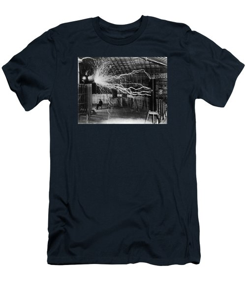 Nikola Tesla - Bolts Of Electricity Men's T-Shirt (Athletic Fit)