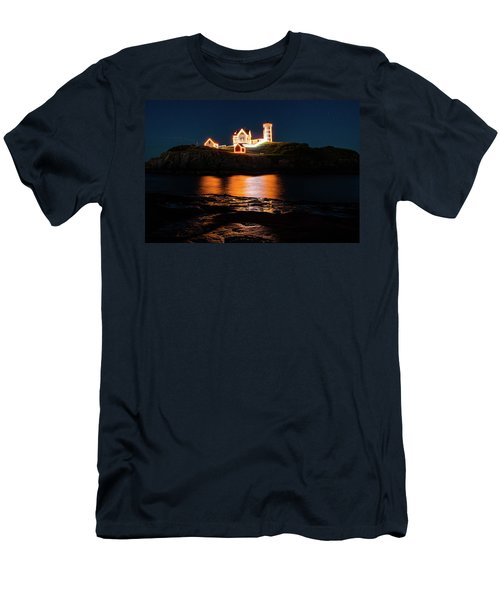 Men's T-Shirt (Athletic Fit) featuring the photograph nubble Lighthouse, York Maine by Jeff Folger