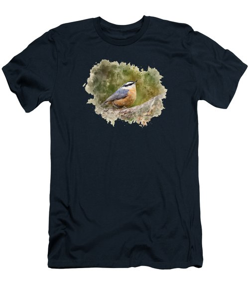 Nuthatch Watercolor Art Men's T-Shirt (Athletic Fit)