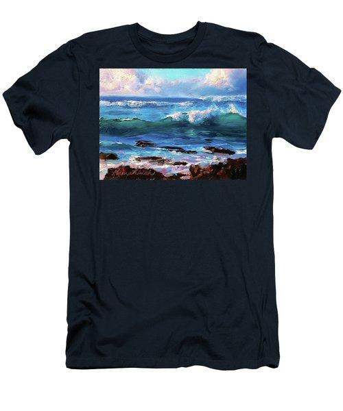 Coastal Ocean Sunset At Turtle Bay, Oahu Hawaii Beach Seascape Men's T-Shirt (Athletic Fit)