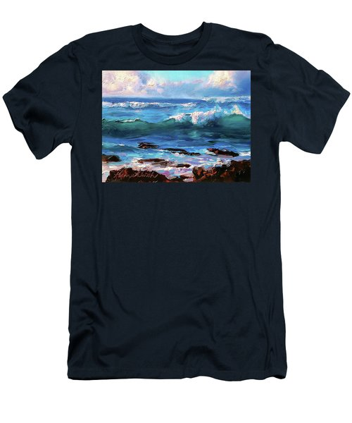 Coastal Ocean Sunset At Turtle Bay, Oahu Hawaii Beach Seascape Men's T-Shirt (Athletic Fit)