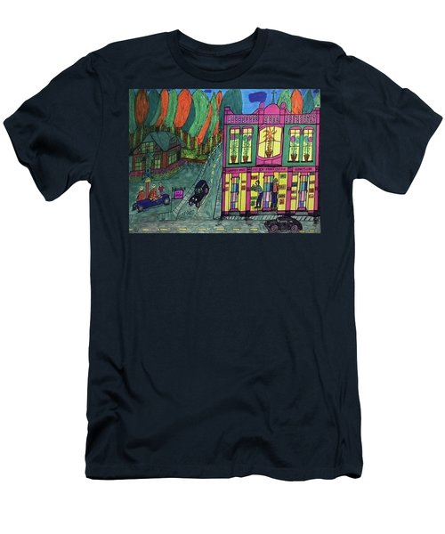 Men's T-Shirt (Slim Fit) featuring the drawing Oddfellows Building. Historical Menominee Art. by Jonathon Hansen