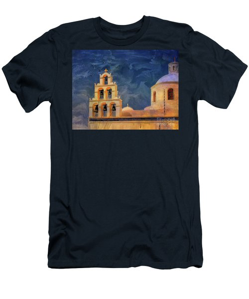 Men's T-Shirt (Slim Fit) featuring the photograph Oia Sunset Imagined by Lois Bryan