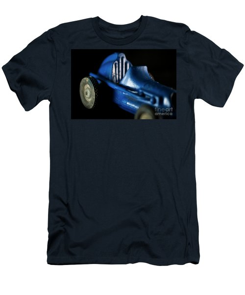 Men's T-Shirt (Slim Fit) featuring the photograph Old Blue Toy Race Car by Wilma Birdwell