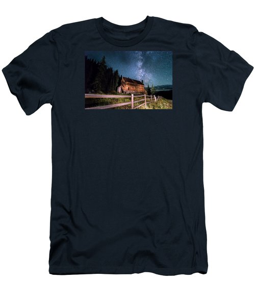 Old Mining Camp Under Milky Way Men's T-Shirt (Slim Fit) by Michael J Bauer