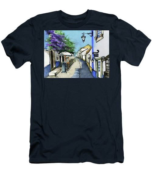 Men's T-Shirt (Athletic Fit) featuring the painting Old Street In Obidos, Portugal by Dora Hathazi Mendes