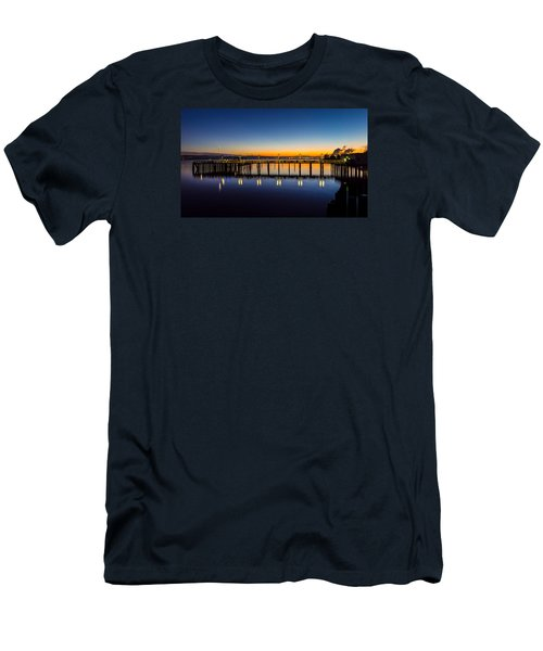 Old Town Pier Blue Hour Sunrise Men's T-Shirt (Slim Fit) by Rob Green