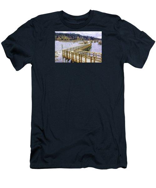 On The Boardwalk  Men's T-Shirt (Slim Fit) by Jean OKeeffe Macro Abundance Art