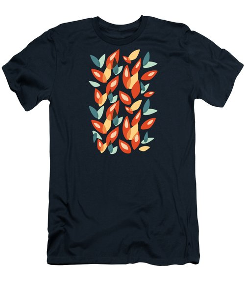 Orange Blue Yellow Abstract Autumn Leaves Pattern Men's T-Shirt (Athletic Fit)