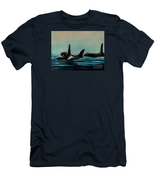 Men's T-Shirt (Slim Fit) featuring the painting Orca's by Annemeet Hasidi- van der Leij
